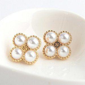 Tory Burch Peop Clover Pearl Stud Earring